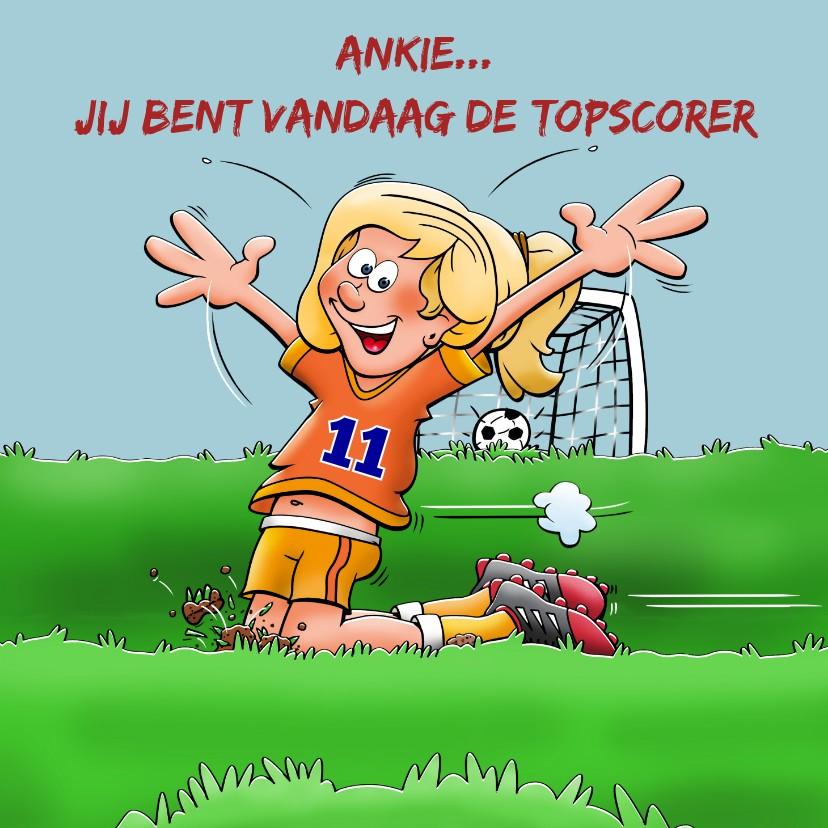 Verjaardagskaarten - Verjaardagskaart voor voetballend meisje rond de 10 jaar