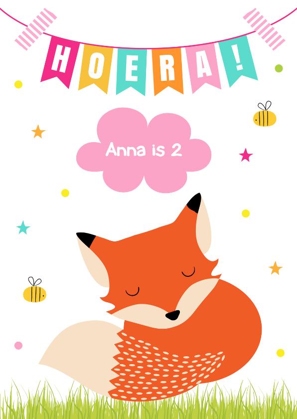 Verjaardagskaarten - Verjaardagskaart vosje slinger roze