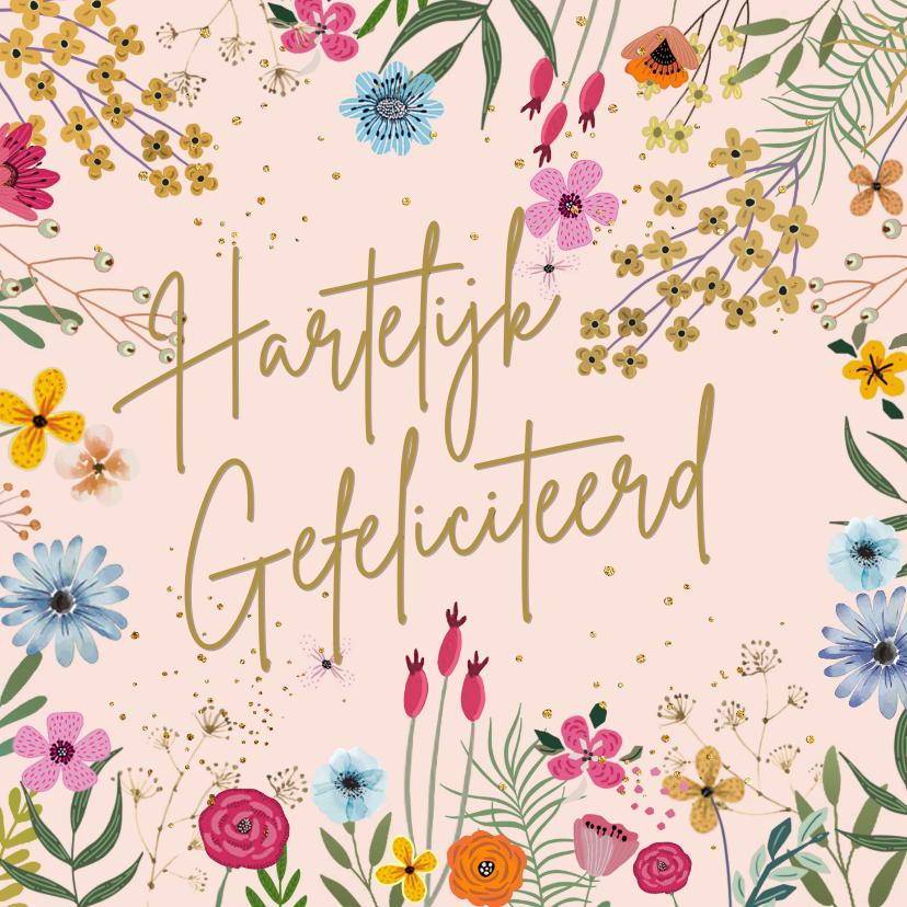 Verjaardagskaarten - Verjaardagskaart vrolijk getekende bloemen