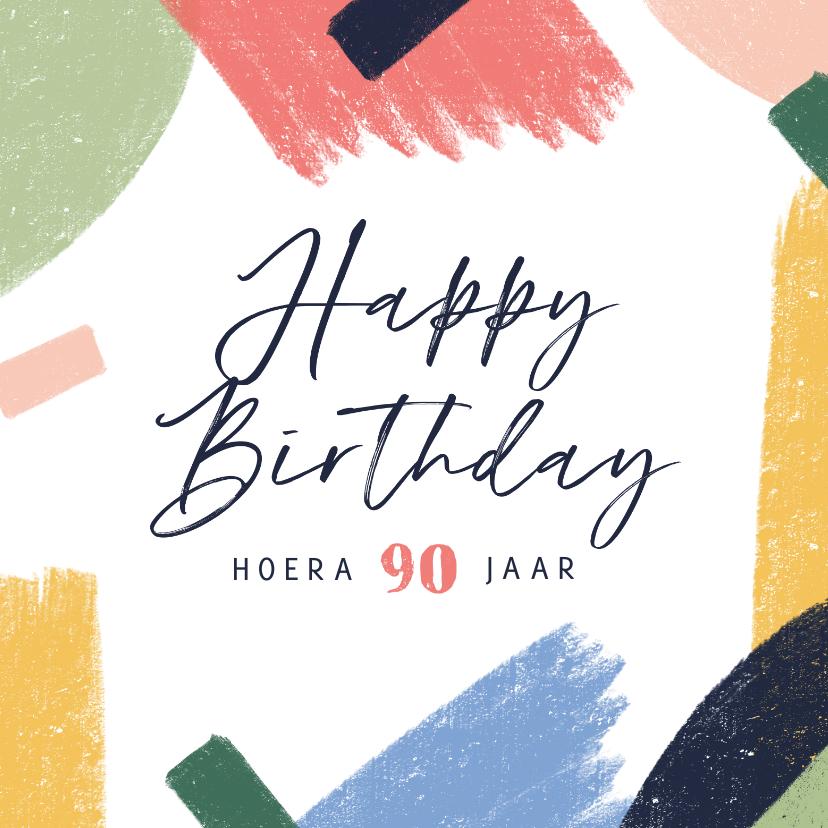 Verjaardagskaarten - Verjaardagskaart vrolijk kleuren abstract 90 jaar