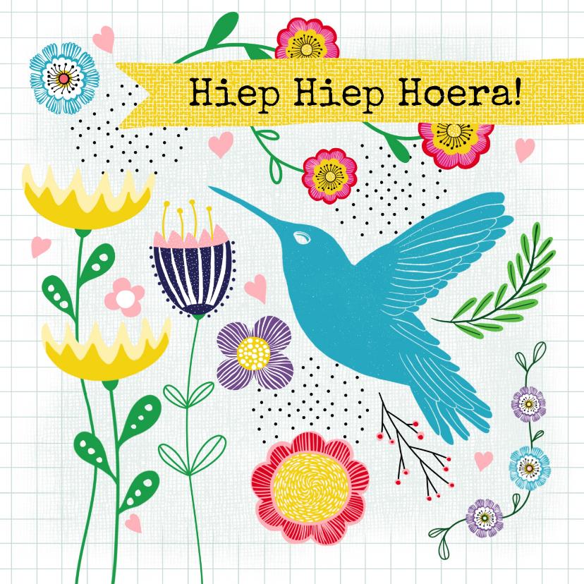 Verjaardagskaarten - Verjaardagskaart - Vrolijke bloemen & kolibrie