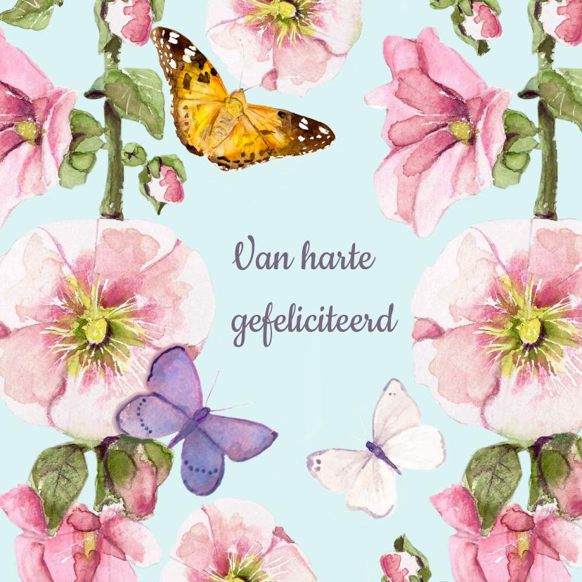 Verjaardagskaarten - Verjaardagskaart Vrolijke bloemen vlinders