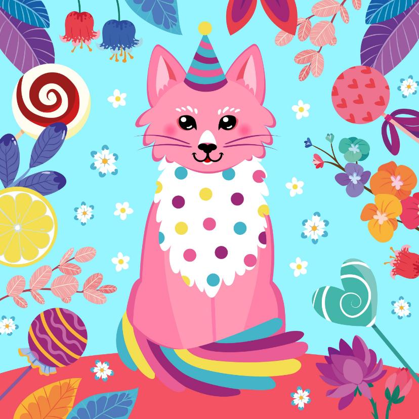 Verjaardagskaarten - Verjaardagskaart vrolijke kat snoep en bloemen