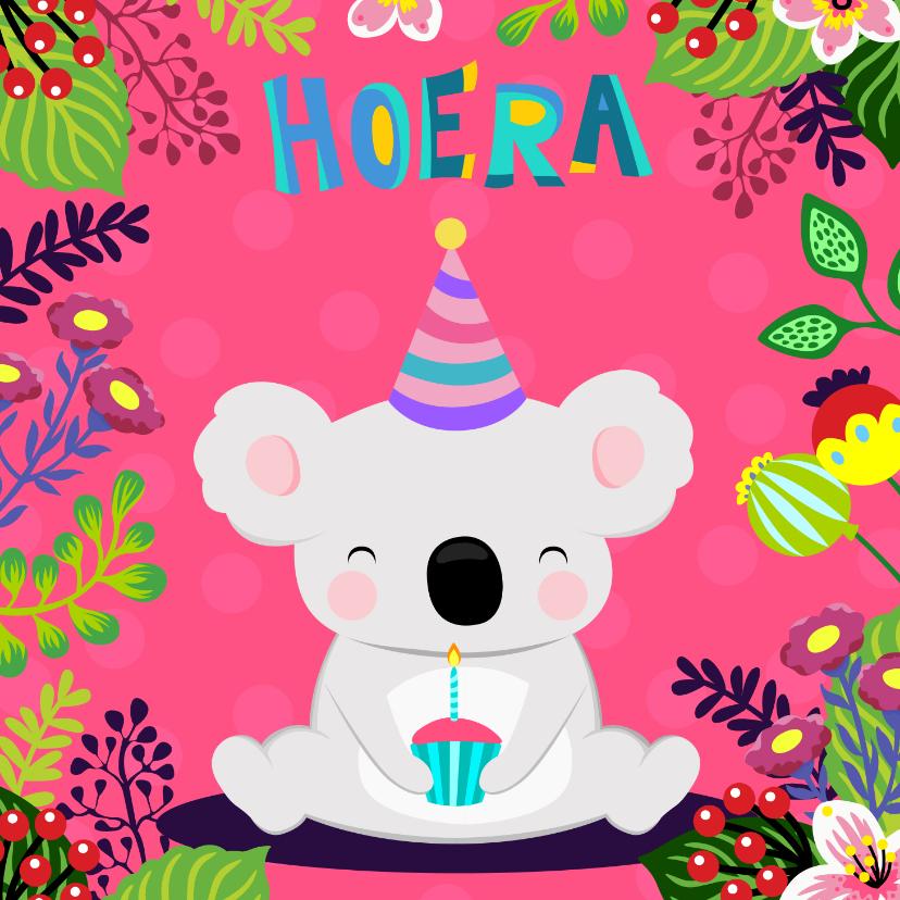 Verjaardagskaarten - Verjaardagskaart vrolijke koala met taartje