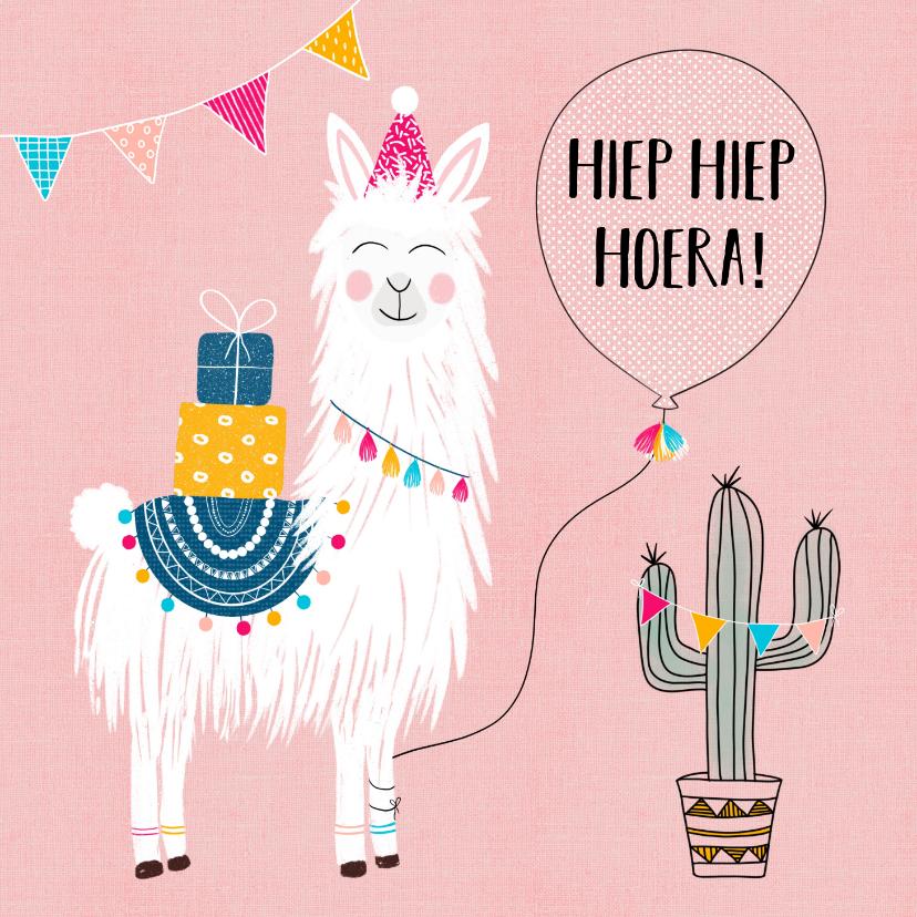 Verjaardagskaarten - Verjaardagskaart - Vrolijke lama met cadeautjes en slingers