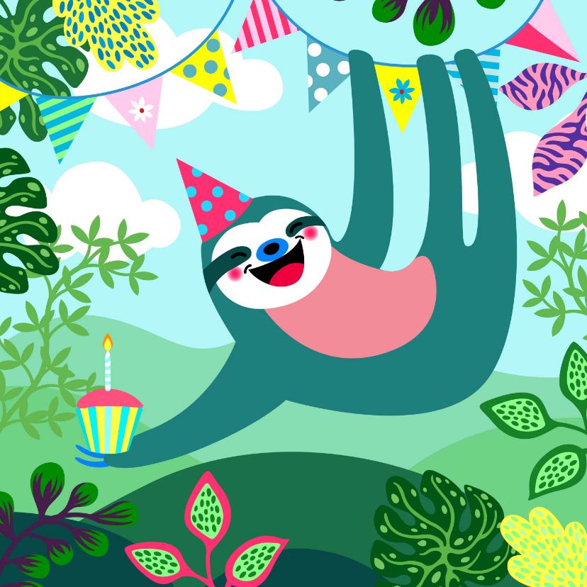 Verjaardagskaarten - Verjaardagskaart vrolijke luiaard, slingers en planten