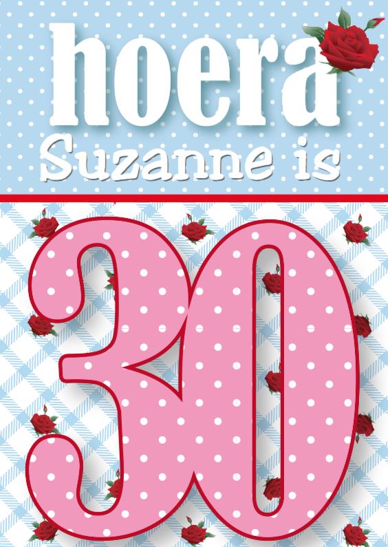 Verjaardagskaarten - Verjaardagskaart vrouw 30 jaar rozen lief