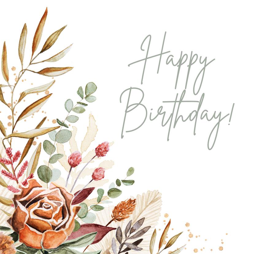 Verjaardagskaarten - Verjaardagskaart vrouw bohemian droogbloemen stijlvol