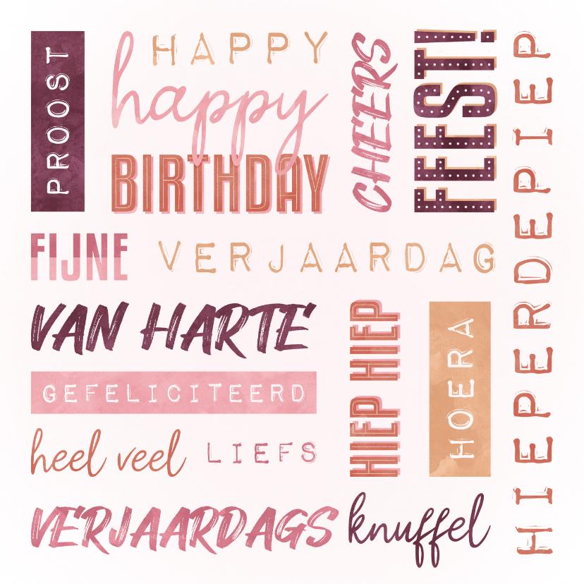 Verjaardagskaarten - Verjaardagskaart vrouw handletter woorden