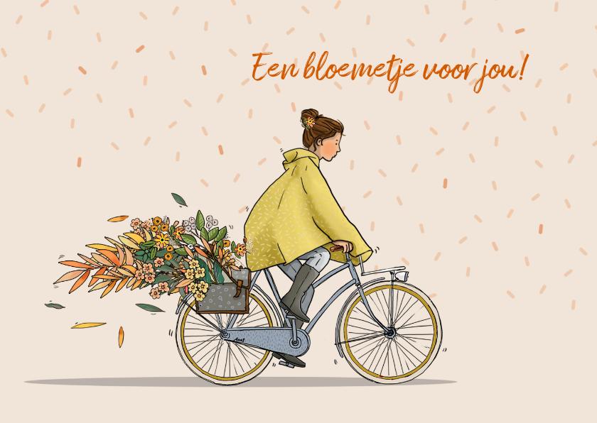Verjaardagskaarten - Verjaardagskaart vrouw in regenjas op fiets