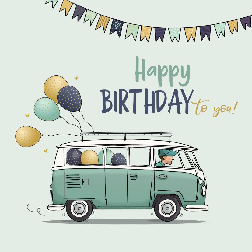 Verjaardagskaarten - Verjaardagskaart vw busje met ballonnen