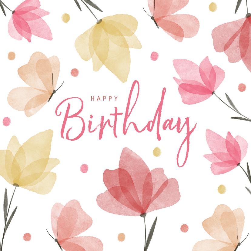 Verjaardagskaarten - Verjaardagskaart waterverf bloemen en vlinders