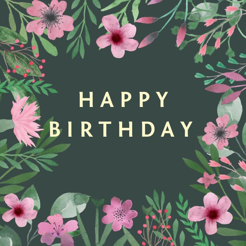 Verjaardagskaarten - Verjaardagskaart waterverf roze