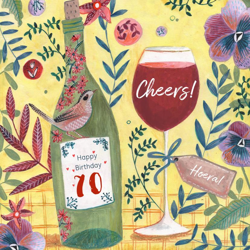 Verjaardagskaarten - Verjaardagskaart wijn met bloemenfeest