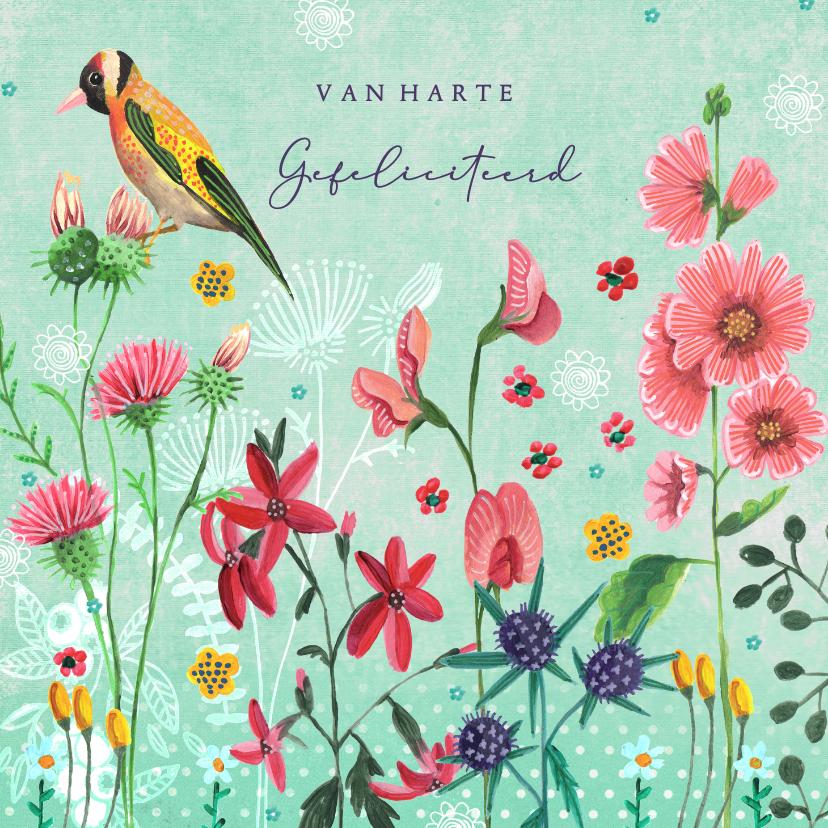 Verjaardagskaarten - Verjaardagskaart wilde bloemen