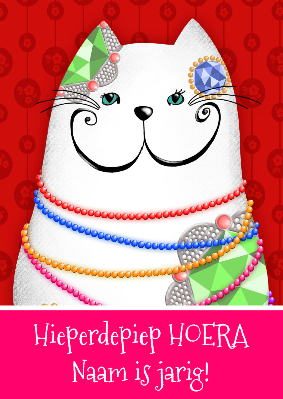 Verjaardagskaarten - Verjaardagskaart witte kat