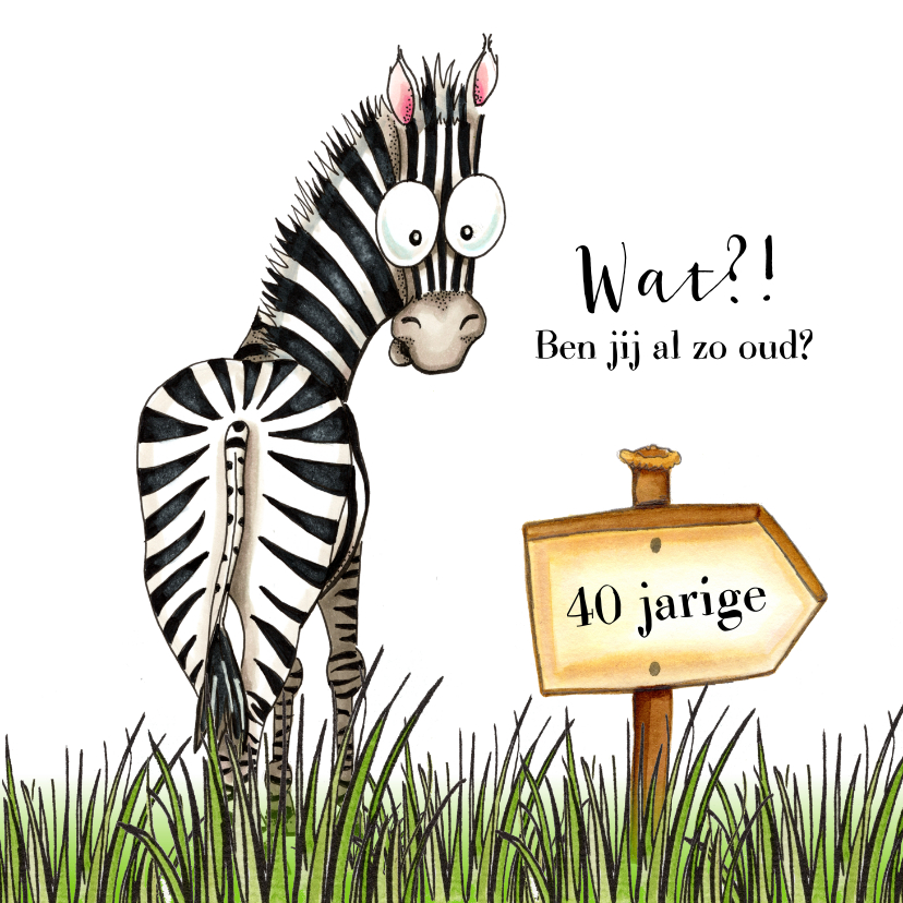 Verjaardagskaarten - Verjaardagskaart zebra met wegwijzer