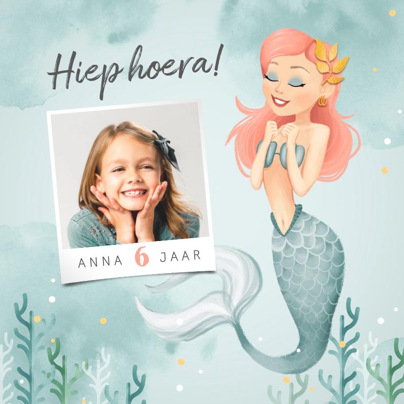Verjaardagskaarten - Verjaardagskaart zeemeermin meisje gefeliciteerd foto