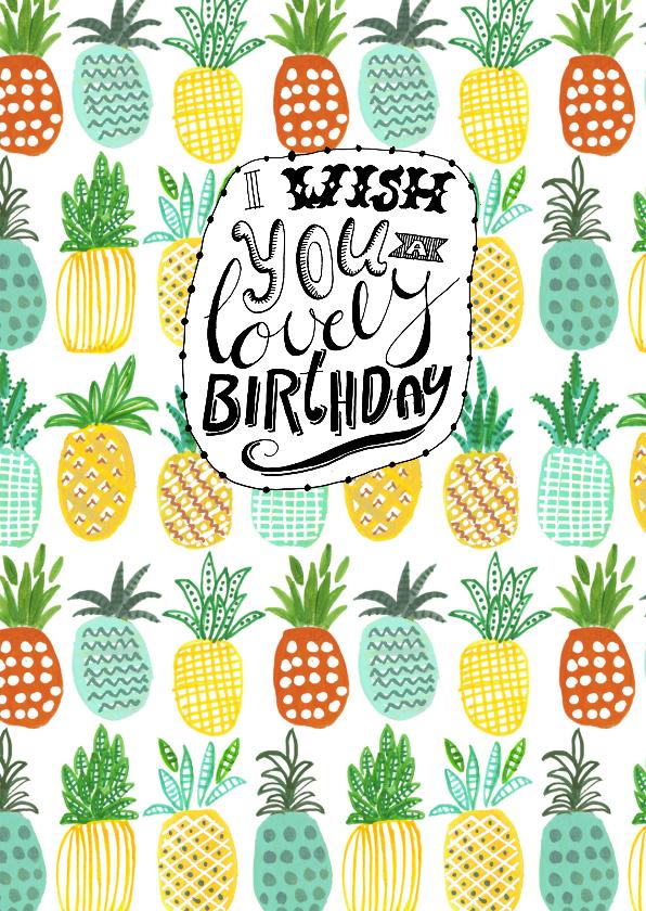 Verjaardagskaarten - Verjaardagskaart Zomer Ananas