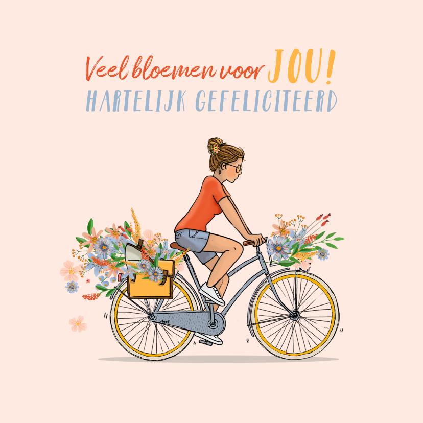 Verjaardagskaarten - Verjaardagskaart zomer meisje op fiets