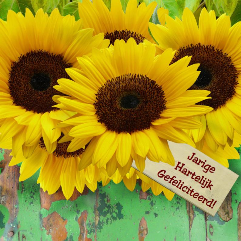 Verjaardagskaarten - Verjaardagskaart Zonnebloemen met hout en felicitatie