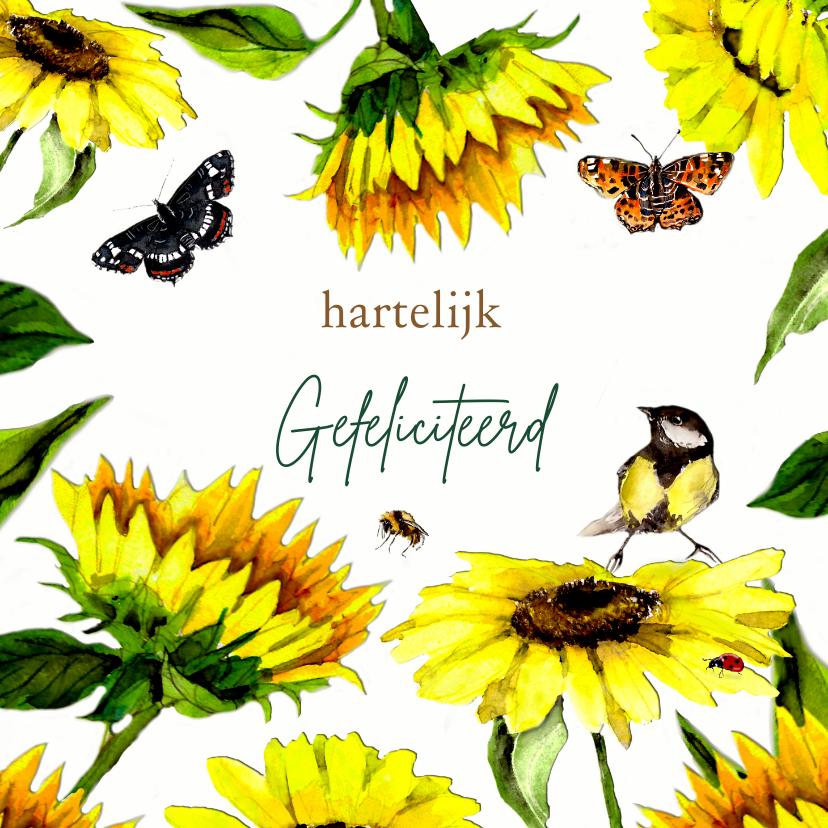 Verjaardagskaarten - Verjaardagskaart zonnebloemen met vlinders