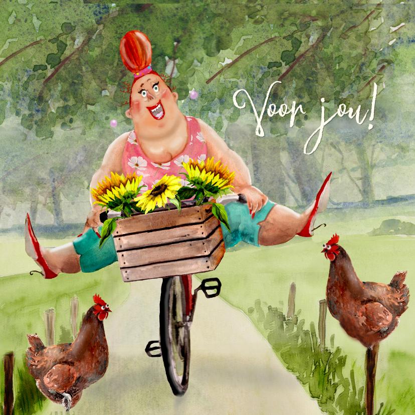 Verjaardagskaarten - Verjaardagskaart zonnebloemen op de fiets