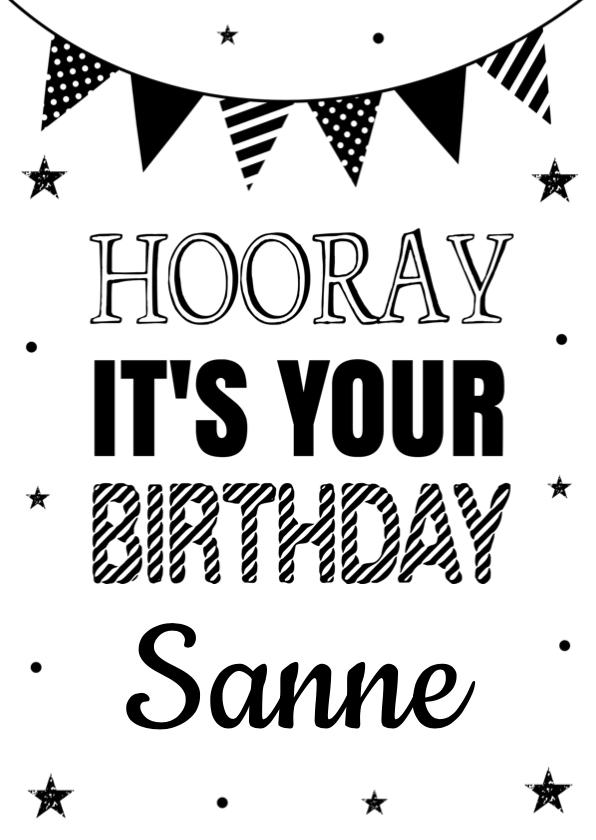 Verjaardagskaarten - Verjaardagskaart zwart wit slinger confetti