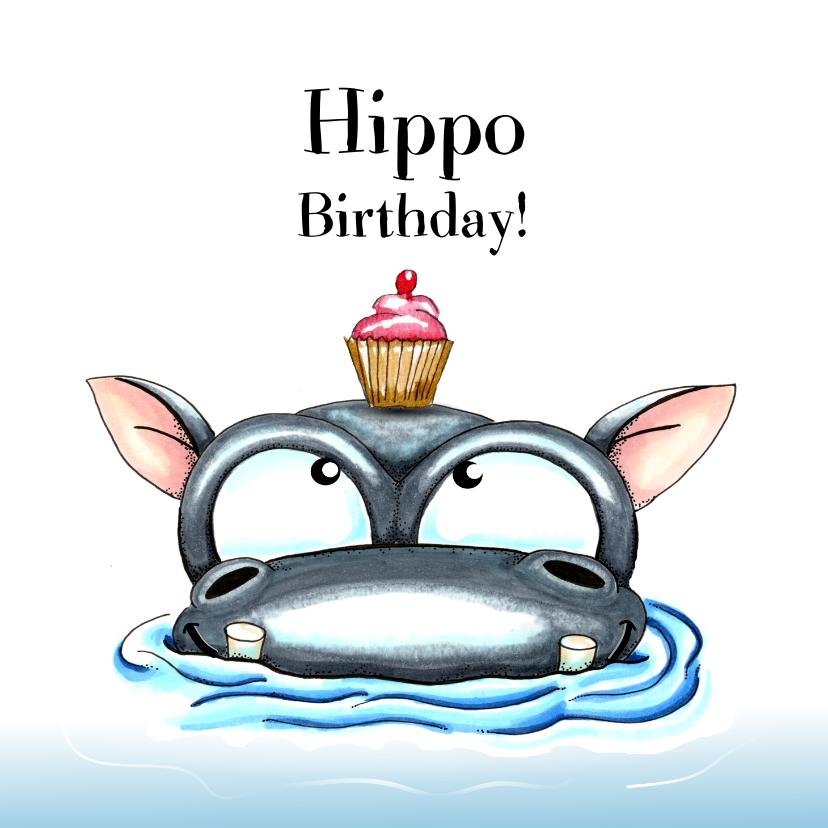 Verjaardagskaarten - verjaardagskaarten hippo birthday