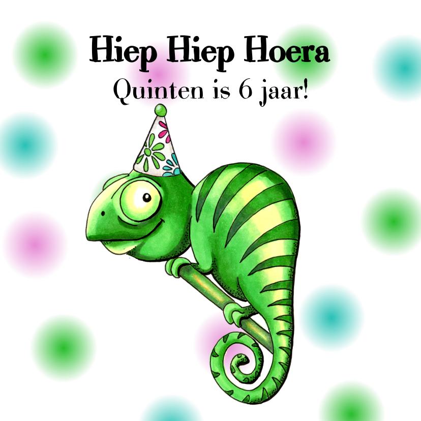 Verjaardagskaarten - Verjaardagskaarten kameleon met feesthoed