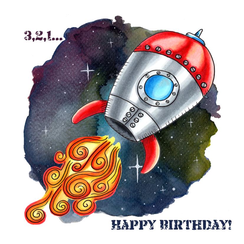 Verjaardagskaarten - Verjaardagskaarten Raket in de Ruimte