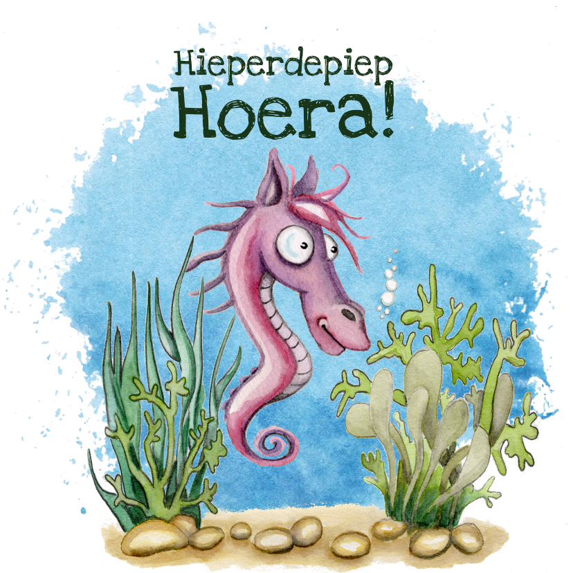 Verjaardagskaarten - Verjaardagskaarten zeepaardje