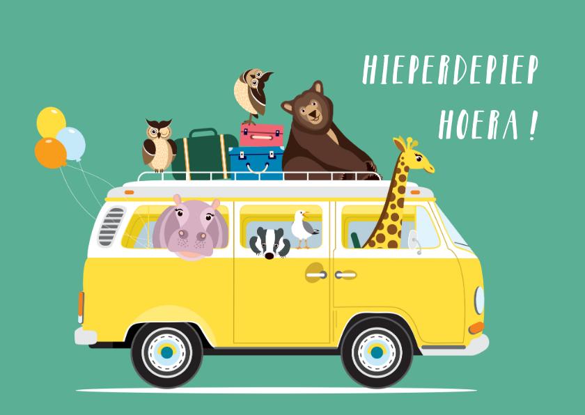 Verjaardagskaarten - Verjaardagskaartje met een VW busje vol diertjes