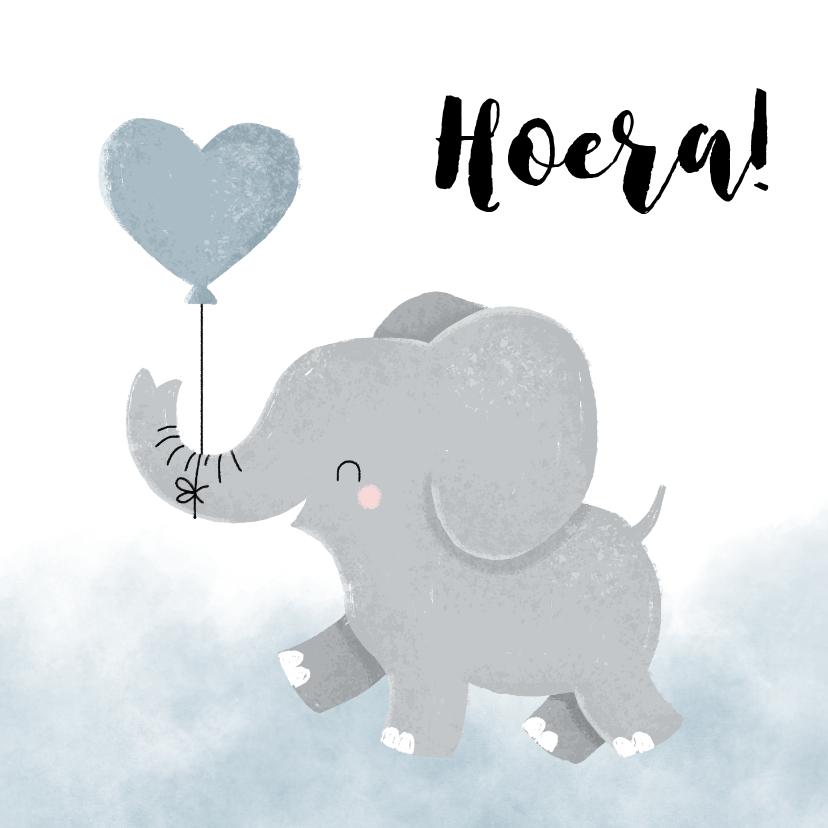 Verjaardagskaarten - Verjaardagskaartje voor jongen met olifantje en waterverf