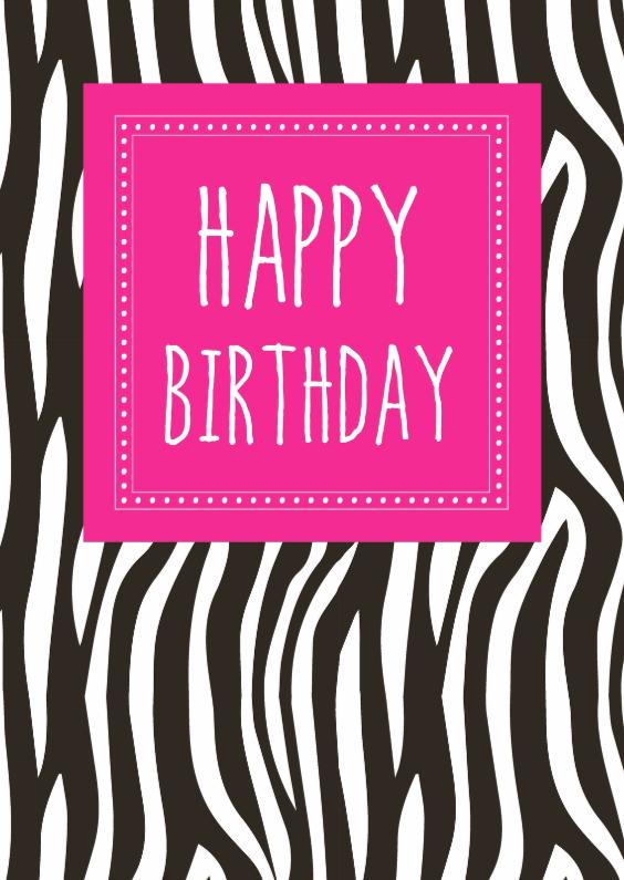 Verjaardagskaarten - Verjaardagskaartje Zebra Roze