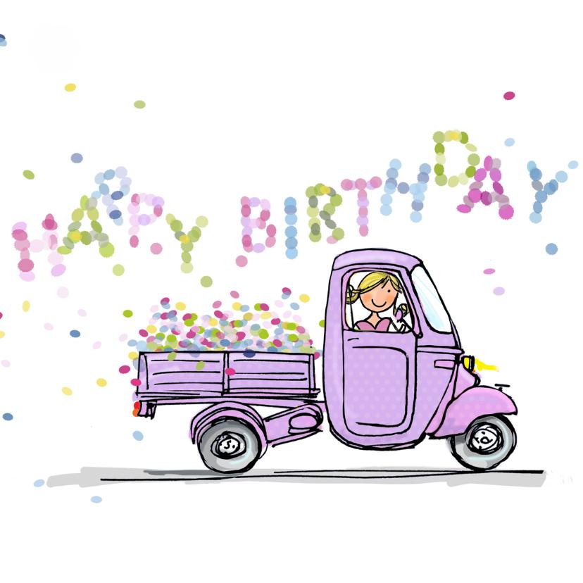 Verjaardagskaarten - Vespa Ape met confetti
