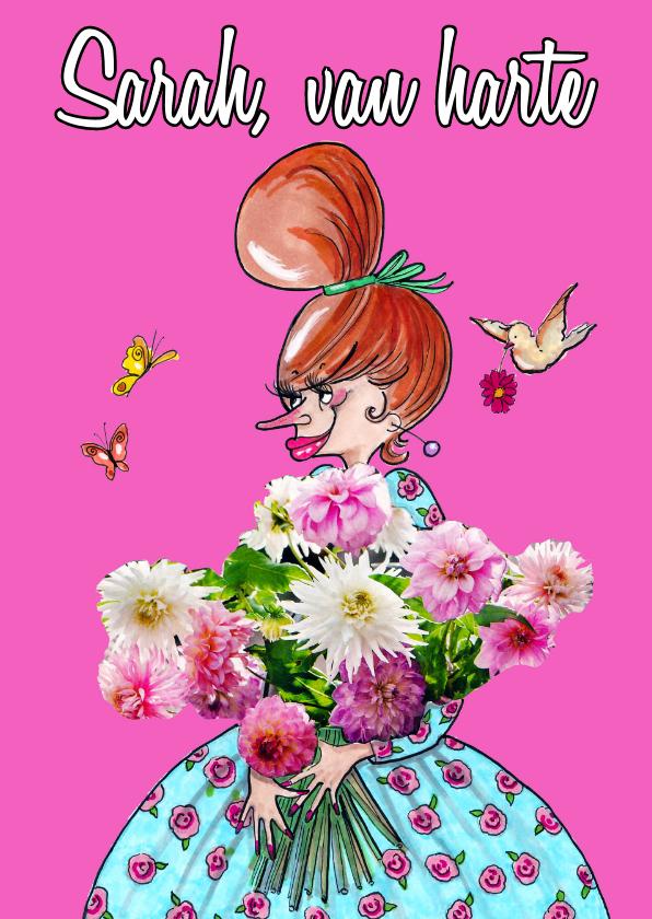 Verjaardagskaarten - Vijftig met bloem