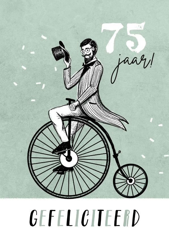 Verjaardagskaarten - Vintage verjaardagskaart man fiets retro confetti