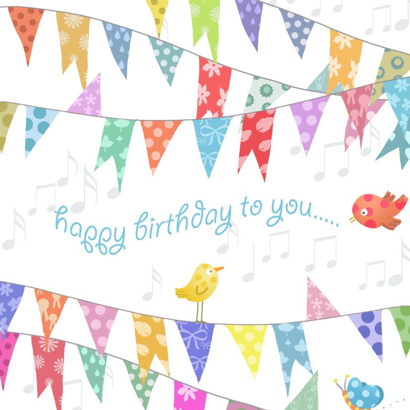 Verjaardagskaarten - Vlag met happy birthday Anet Illustratie