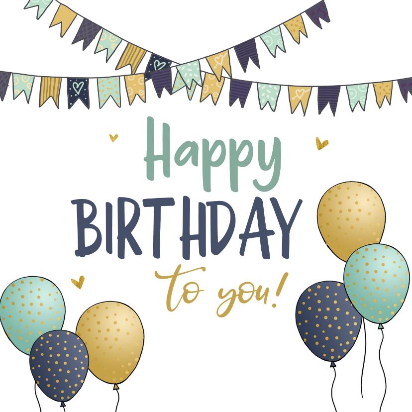 Verjaardagskaarten - Vlaggetjes en ballonnen