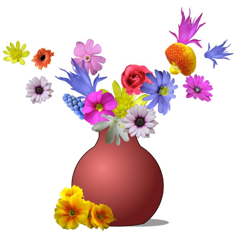 Verjaardagskaarten - Vliegende bloemen uit vaas