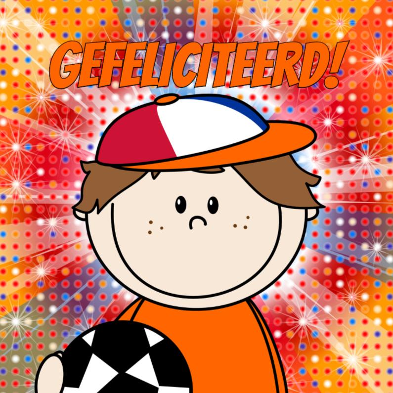 Verjaardagskaarten - Voetbal jongen ORANJE disco