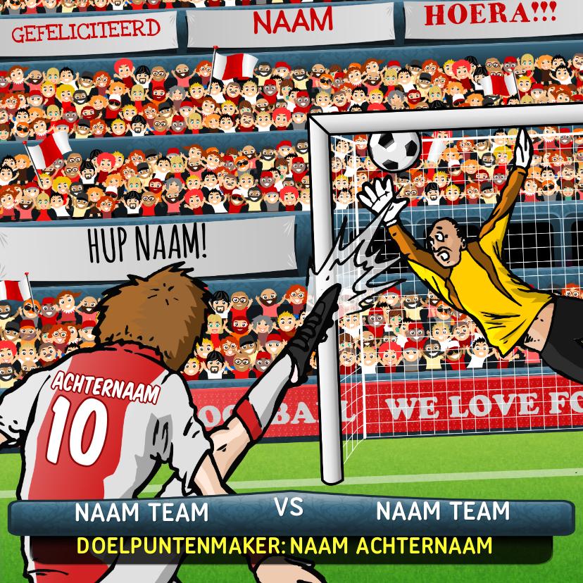 Verjaardagskaarten - Voetbal Kaart in Amsterdamse kleuren