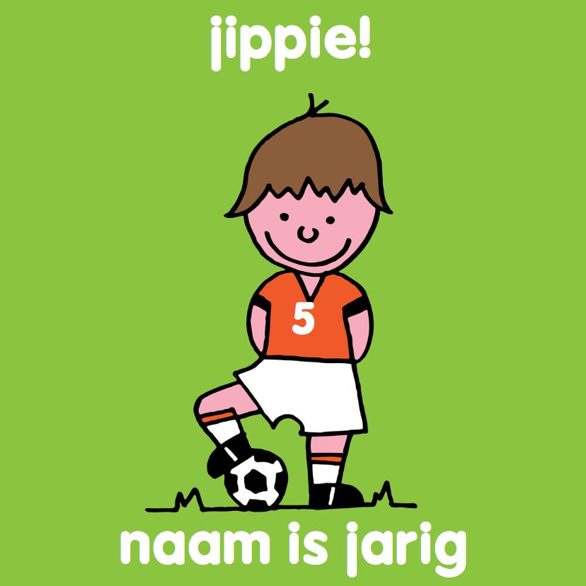 Verjaardagskaarten - voetbal oranje leeftijd