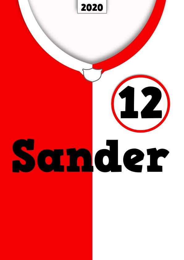 Verjaardagskaarten - voetbal shirt tekst zelf invullen e