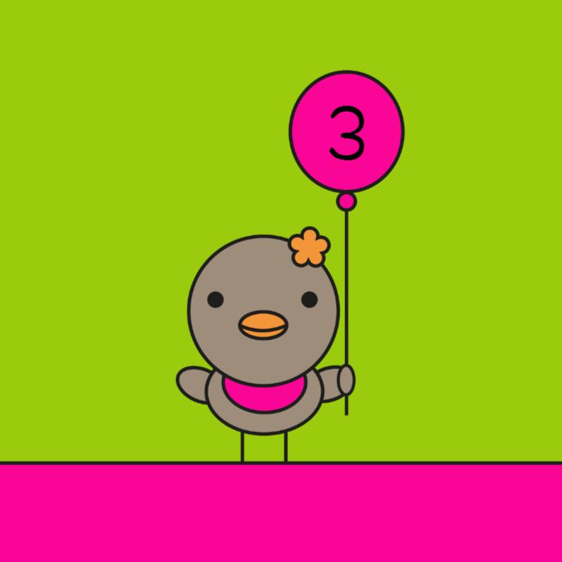 Verjaardagskaarten - Vogeltje meisje met ballon