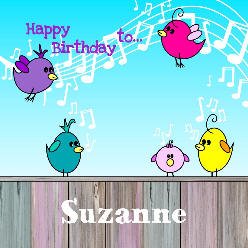 Verjaardagskaarten - VOGELTJES Happy BIRTHDAY to