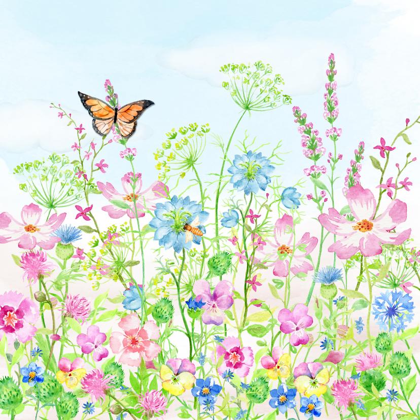 Verjaardagskaarten - Vrolijke bloemenweide met vlinders