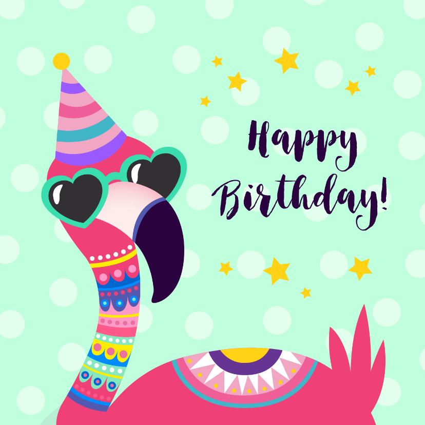 Verjaardagskaarten - Vrolijke en grappige verjaardagskaart met flamingo met bril