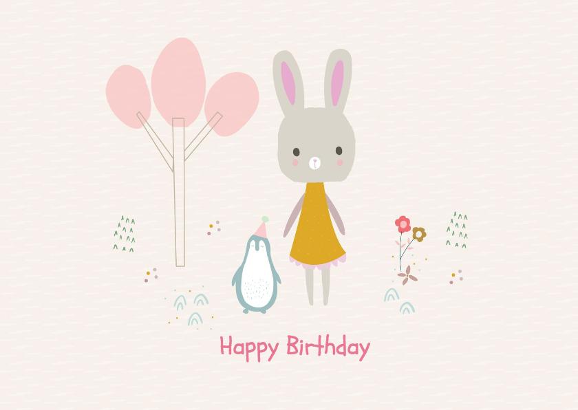 Verjaardagskaarten - Vrolijke en hippe verjaardagskaart lief konijn en pinguïn